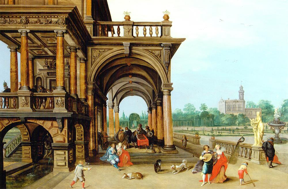 Palacio con jardines y escena de Corte Ambrosius Francken II