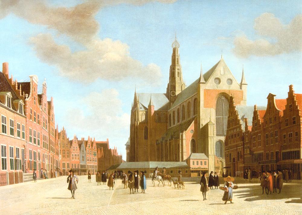 Vista de Haarlem con la catedral de San Bavon Gerrit Adriaensz Beckerheyde
