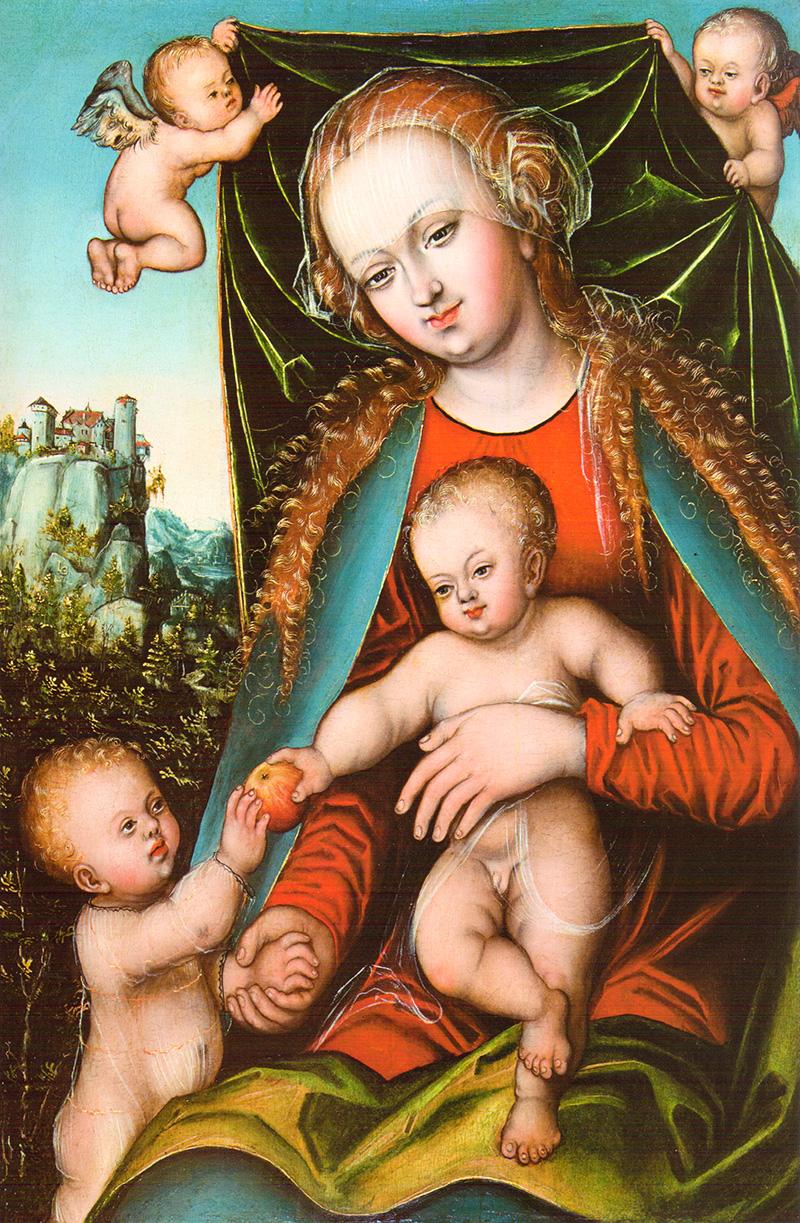 Virgen con Niño, San Juan y Ángeles Lucas Cranach I