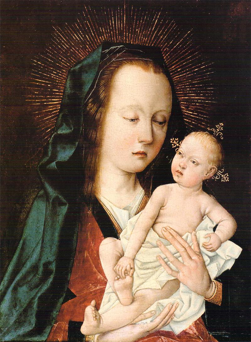 Virgen con Niño Maestro del Follage Bordado